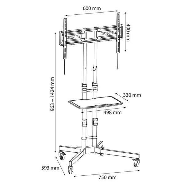 Rysunek techniczny mobilnego stojaka TV Adax 40