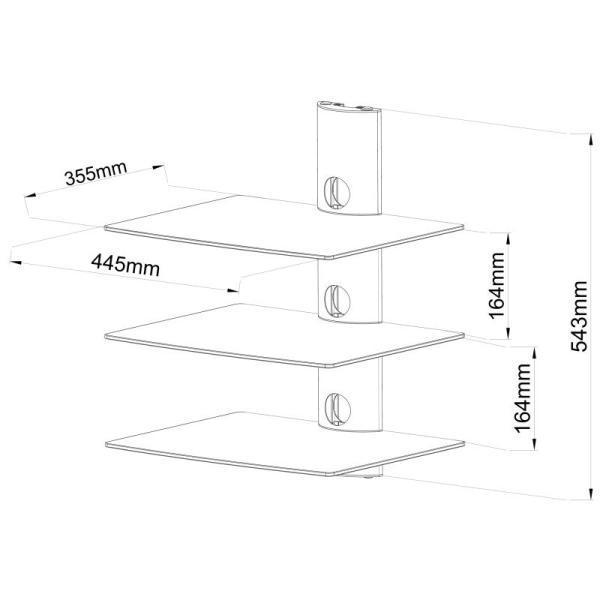 Rysunek techniczny półki szklanej Ardea-3B