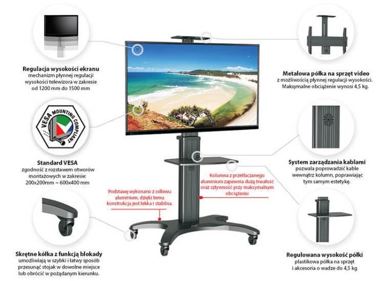 Specyfikacja mobilnego stojaka do TV model AVF1500-50-1P