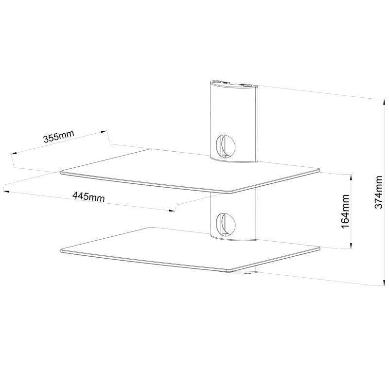Rysunek techniczny półki szklanej Ardea-2B
