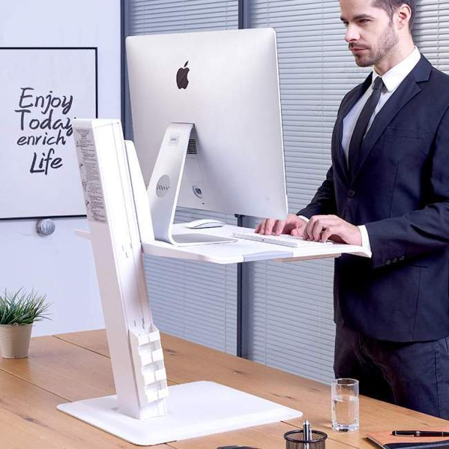 Nabiurkowa stacja robocza BT15, podstawa z regulacją wysokości pod monitor klawiaturę laptop