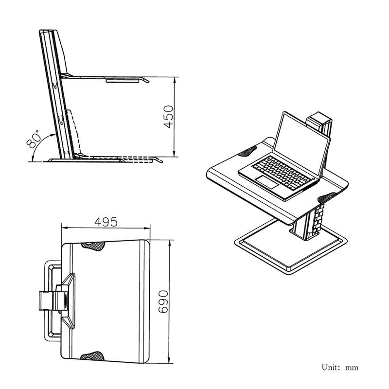 Rysunek techniczny biurkowej stacji roboczej BT15 na monitor kalwiaturę laptop