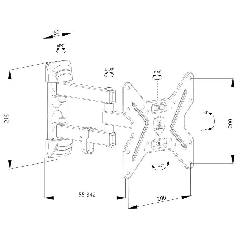 Rysunek techniczny uchwytu ściennego do TV i monitorów - Ergosolid Ceros-R1
