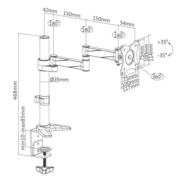 Rysunek techniczny uchwytu biurkowego do monitora - model: F70
