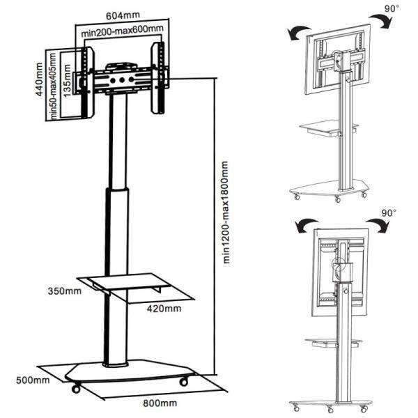 Rysunek technichniczny stojaka TV - FN01