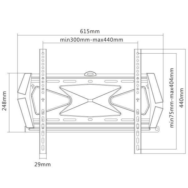 Rysunek techniczny uchwytu ściennego do TV FN404F
