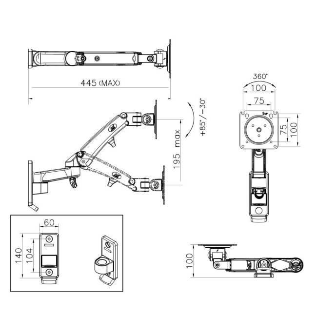 Uchwyt do monitora - NB F300 rysunek techniczny