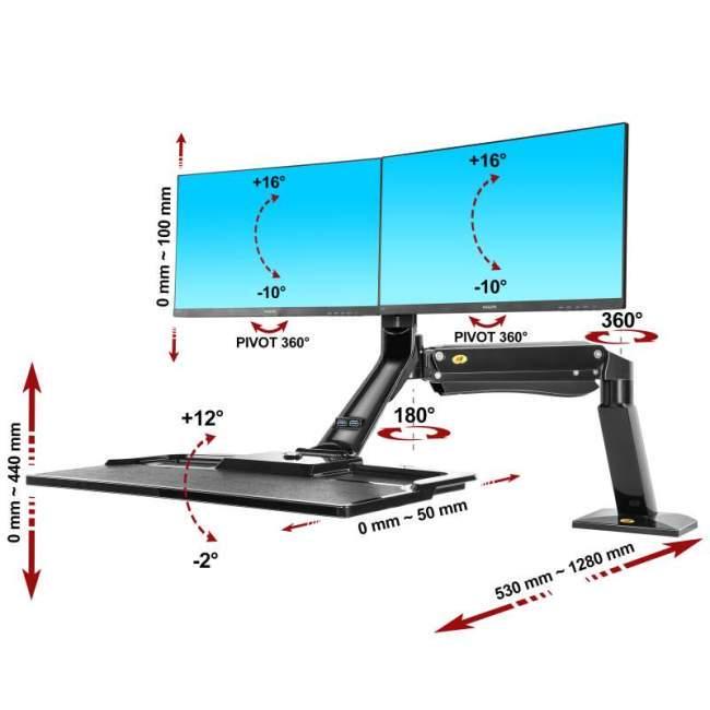 Biurkowa stacja robocza na dwa monitory i klawiaturę FC40-2A