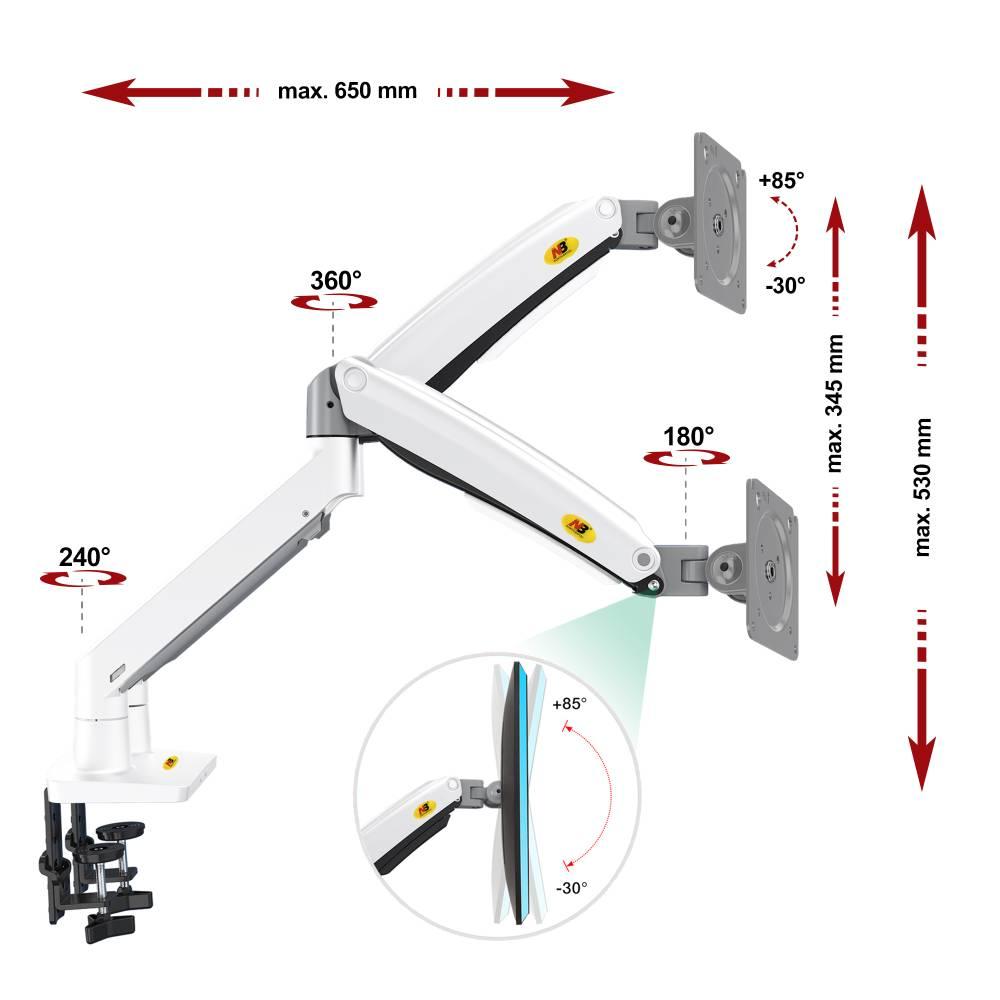 Specyfikacja uchwytu do dwóch monitorów F195A