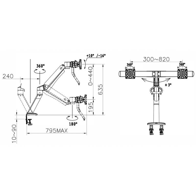 Rysunek techniczny uchwytu F37 do dwóch monitorów