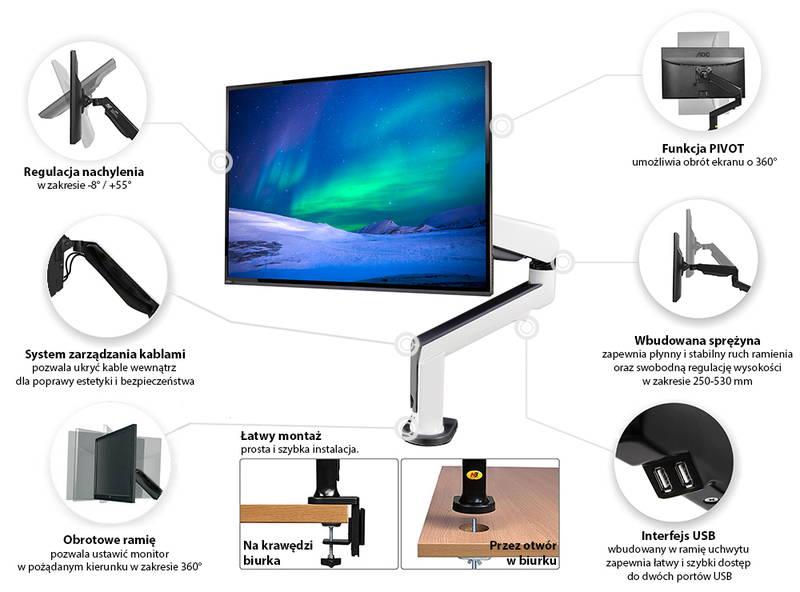 Specyfikacja uchwytu do monitora F90A