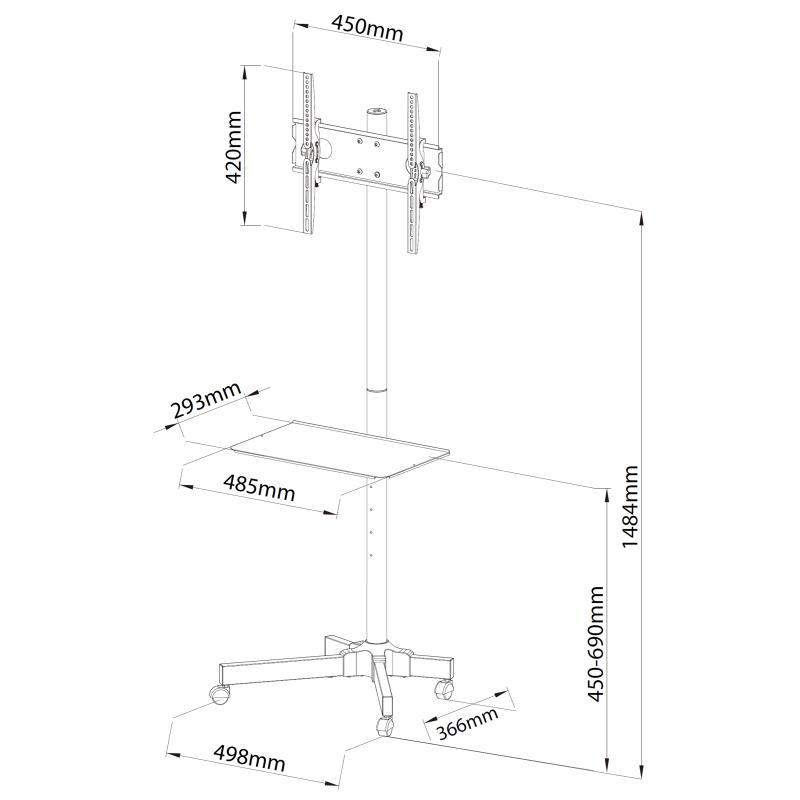 Rysunek techniczny - mobilny stojak do TV Falco 24