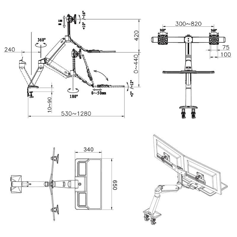 Rysunek techniczny uchwytu FC40-2A do dwóch monitorów i klawiatury