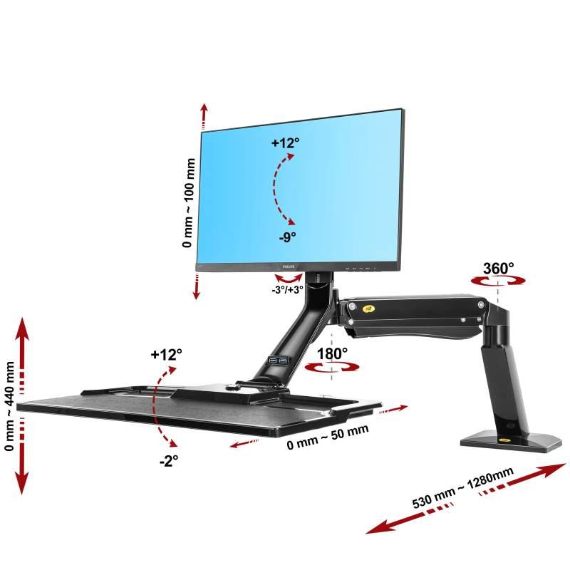 Biurkowa stacja robocza na monitor i klawiaturę FC40