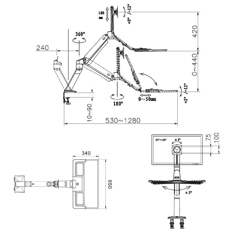 Rysunek techniczny uchwytu FC40 do monitora i klawiatury
