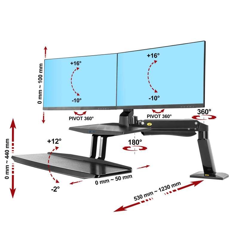 Rysunek techniczny uchwytu FC55-2A do monitora i klawiatury