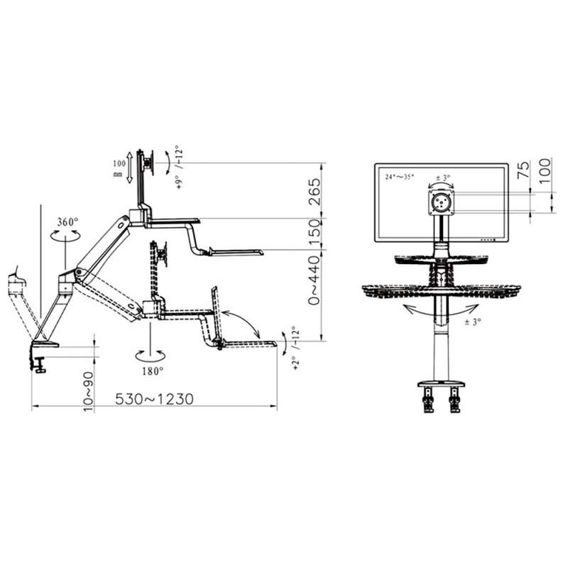 Rysunek techniczny uchwytu FC55 do monitora i klawiatury