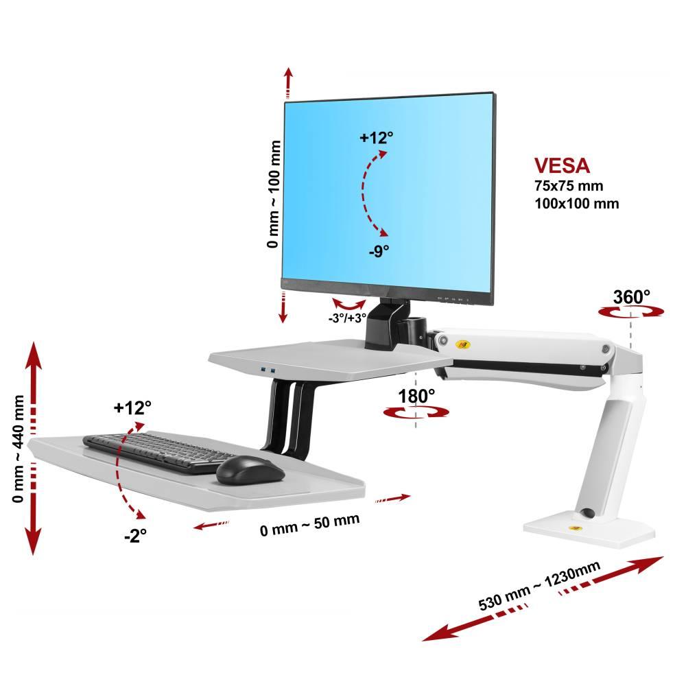 Biurkowa stacja robocza na monitor i klawiaturę FC55