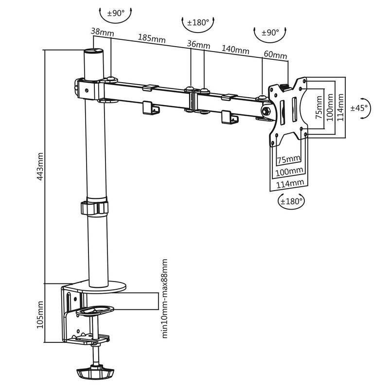 Rysunek techniczny uchwytu biurkowego do monitora - model: F10