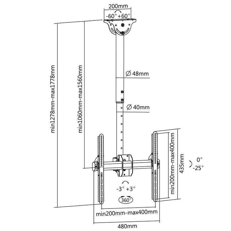 Rysunek techniczny uchwytu sufitowego do TV - FN T1410