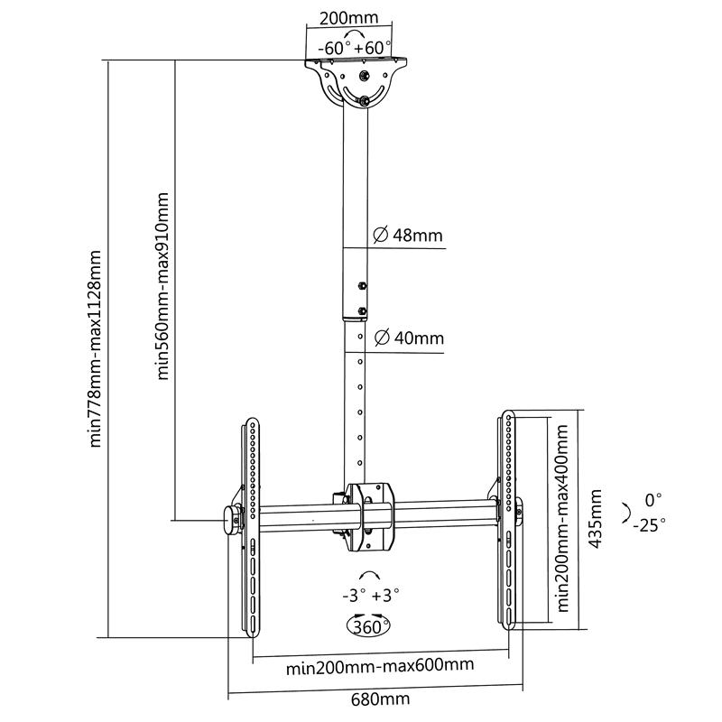 Rysunek techniczny uchwytu sufitowego do TV - FN T600