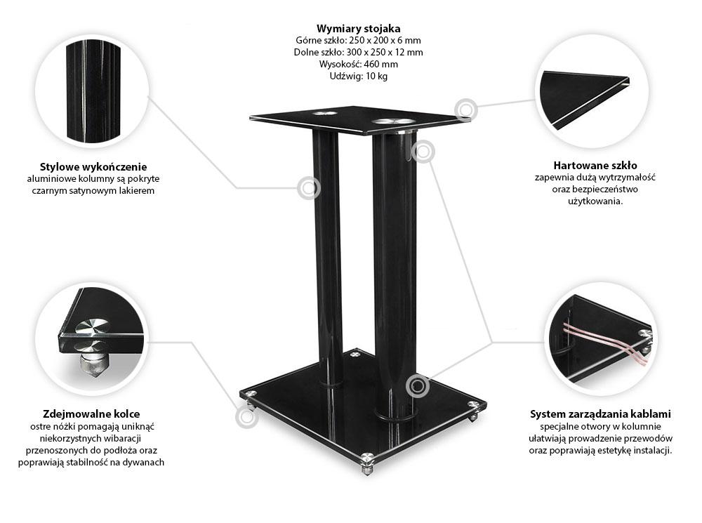 Specyfikacja stojaka FN28 pod kolumny głośnikowe
