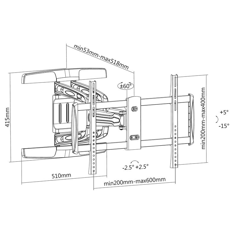 Rysunek techniczy uchwytu TV FN316
