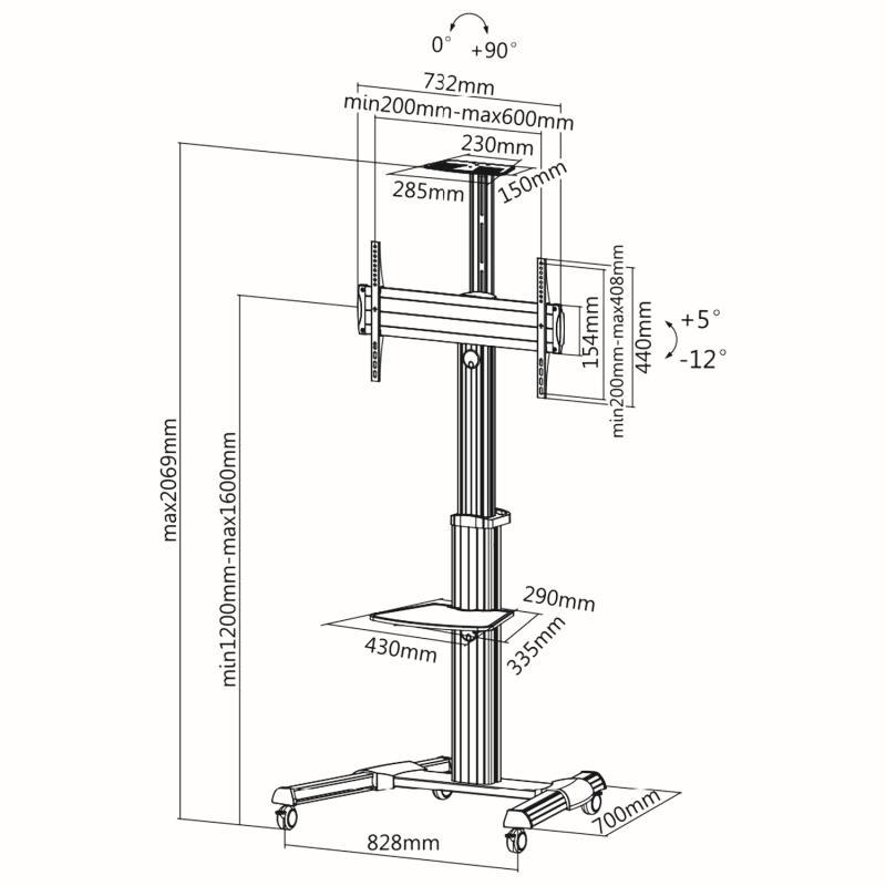 Rysunek techniczny - mobilny stojak do TV FN7000