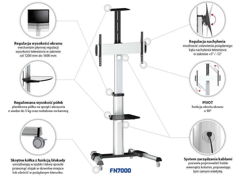 Specyfikacja mobilnego stojaka do TV model FN7000
