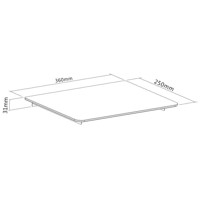 Rysunek techniczny półki szklanej DVD FND360