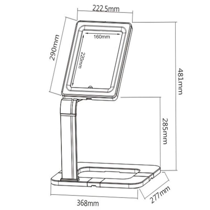 Rysunek techniczny stojaka do tabletu MC-644