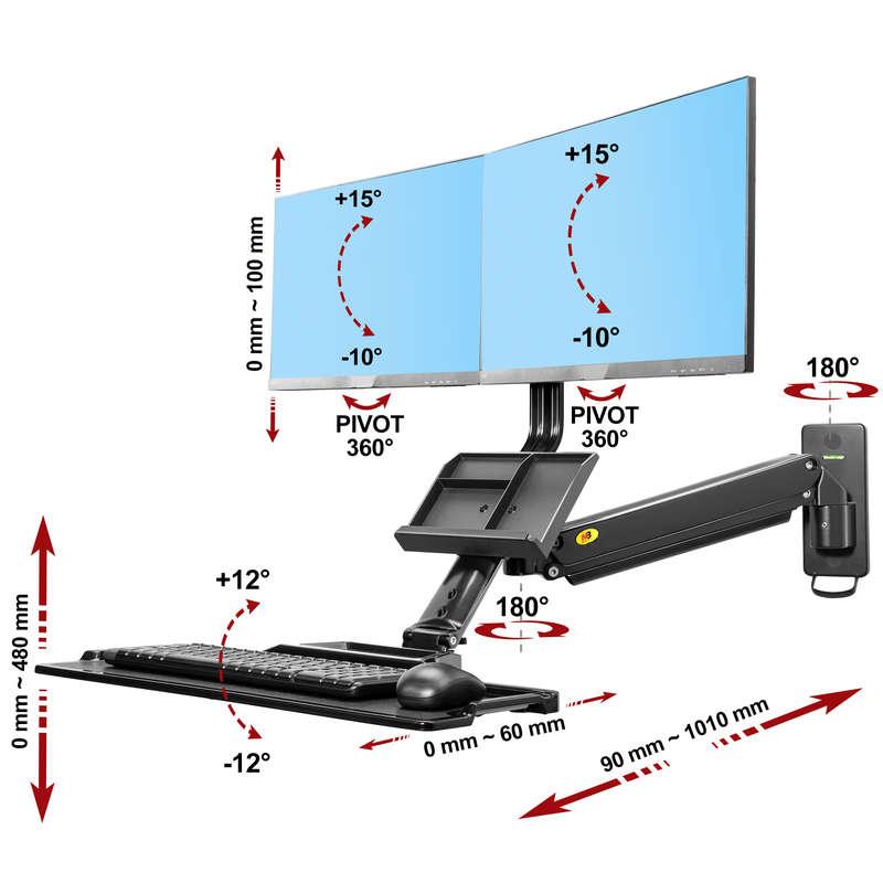Rysunek techniczny uchwytu MC27-2a do dwóch monitorów i klawiatury