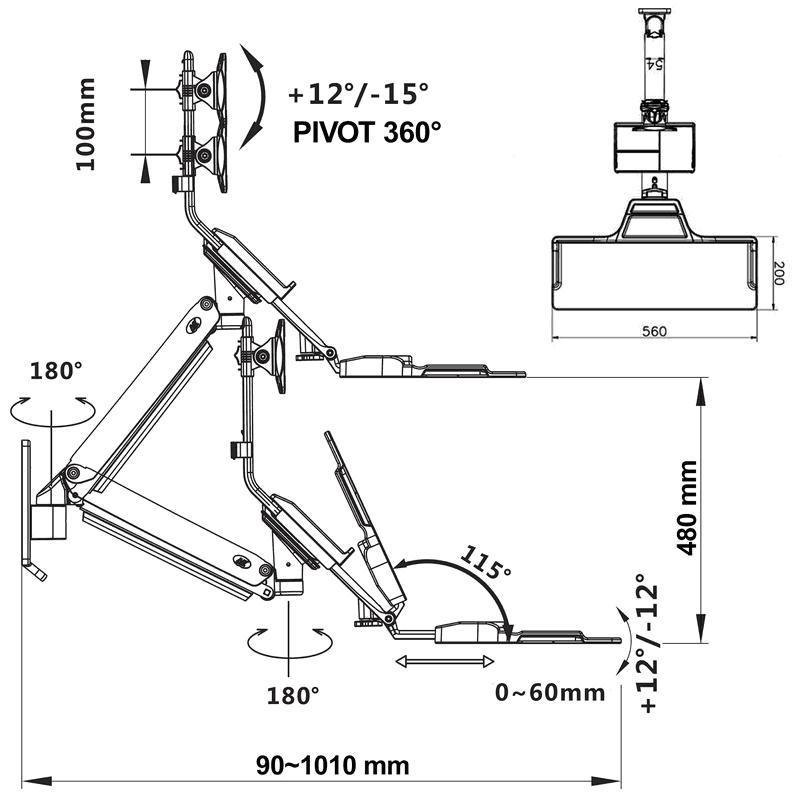 Rysunek techniczny uchwytu MC32 do monitora i klawiatury