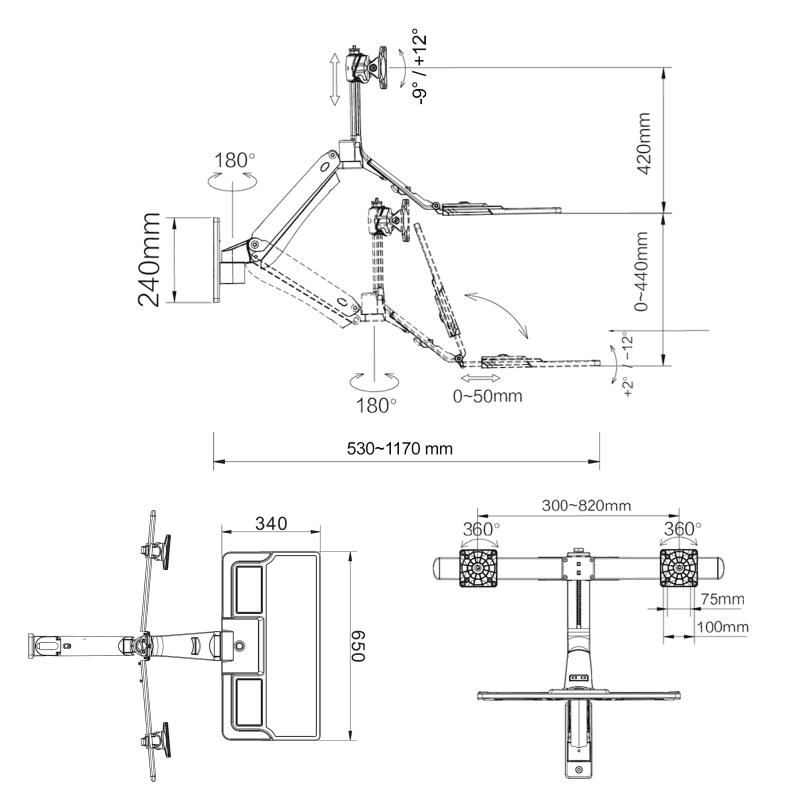 Rysunek techniczny uchwytu MC40-2A do monitora i klawiatury