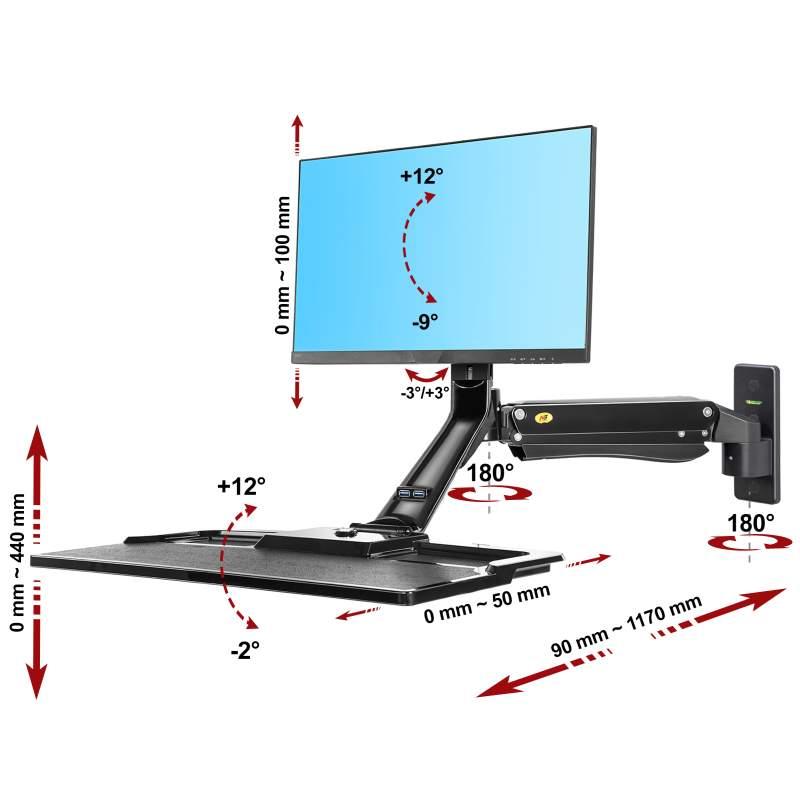Rysunek techniczny uchwytu MC40 do monitora i klawiatury