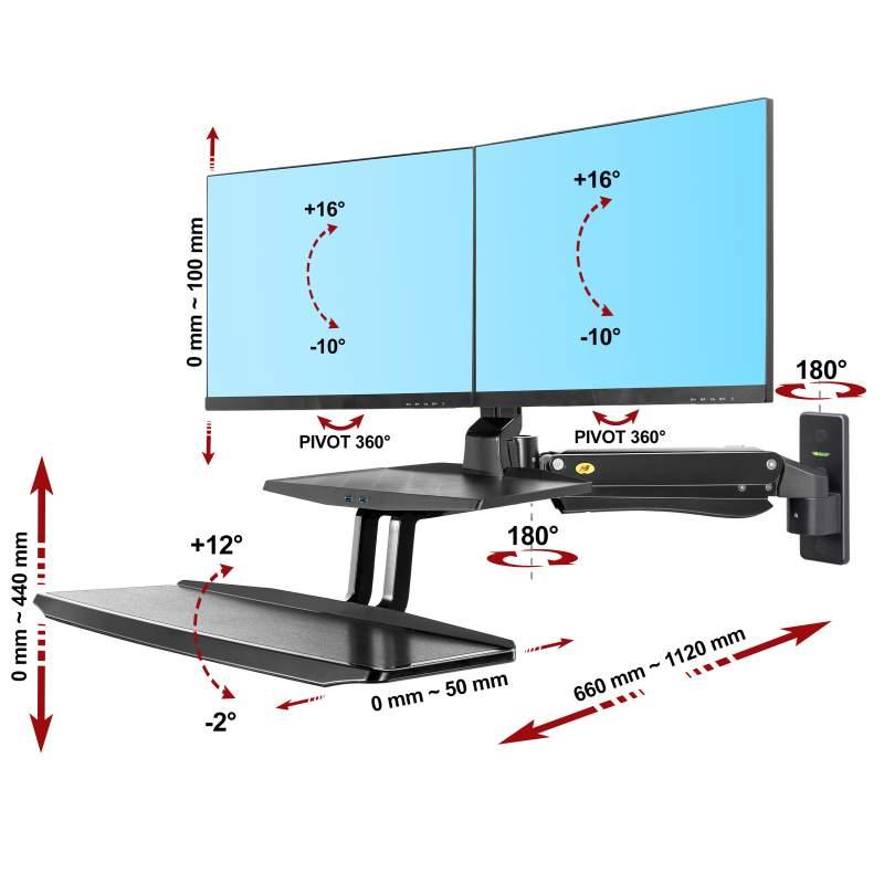 Rysunek techniczny uchwytu MC55-2A do dwóch monitorów i klawiatury
