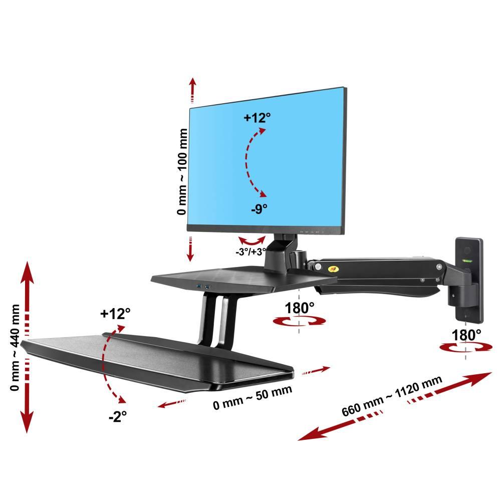 Ścienna stacja robocza na monitor i klawiaturę MC55