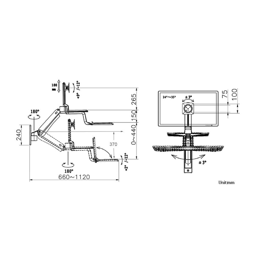 Rysunek techniczny uchwytu MC55 do monitora i klawiatury