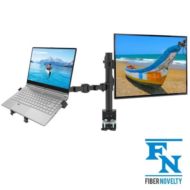 NF14 - Biurkowy uchwyt na monitor z podstawką pod laptop
