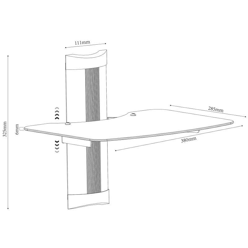 Rysunek techniczny półki szklanej OVI-S1