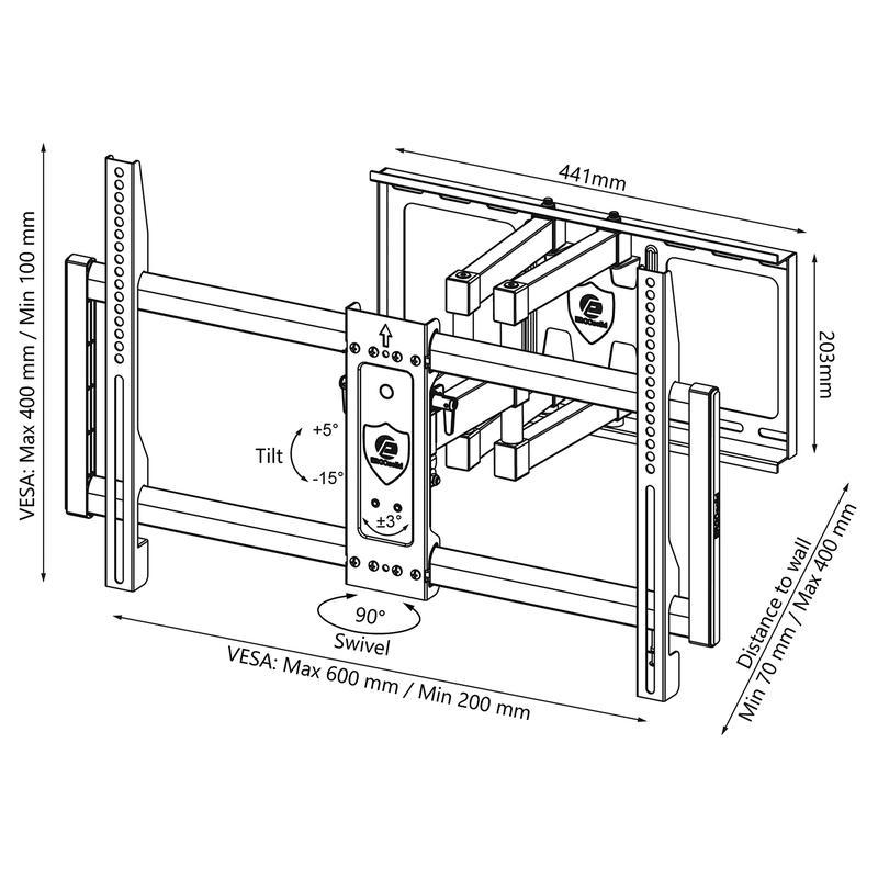Rysunek techniczny uchwytu ściennego TV - Rino F2