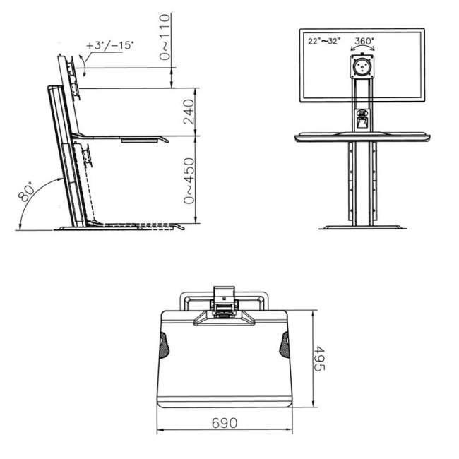 Rysunek techniczny biurkowej stacji roboczej ST15 na monitor kalwiaturę laptop