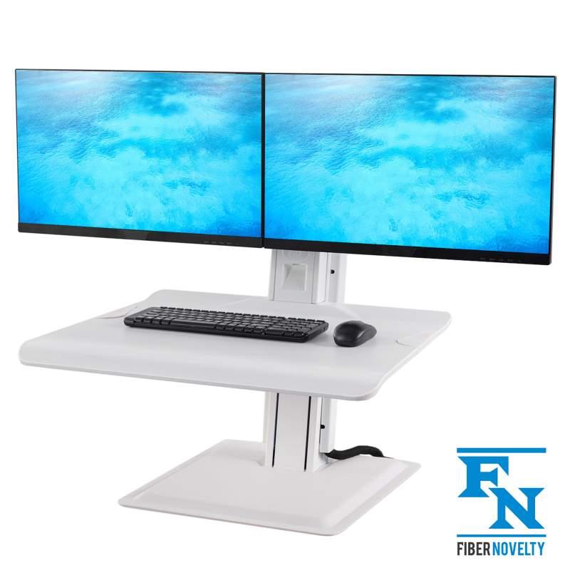 Nabiurkowa stacja robocza ST15-2A, podstawa z regulacją wysokości na dwa monitory klawiaturę laptop